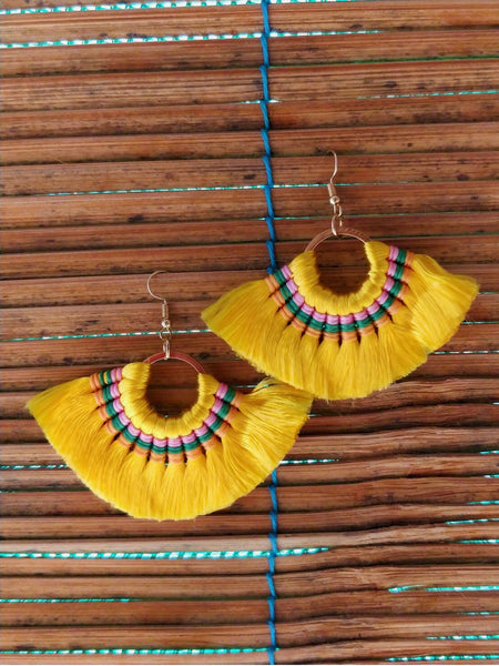 Mink Tassel Fringe Yellow Earrings