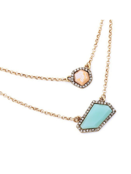 Mint Stud layered Necklace
