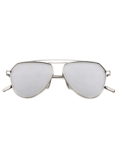 ROUNDED AVIATORS SILVER SUNGLASSES