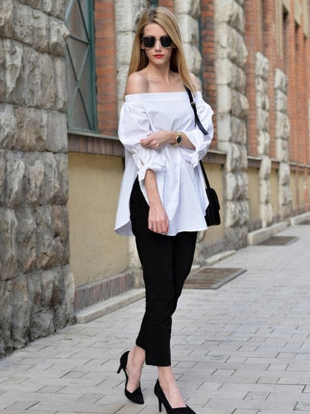 WHITE LONG SLEEVE OFF THE SHOULDER TOP
