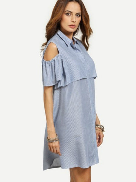 Striped Buttoned Blue Dress