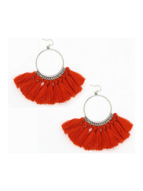 Tropical Tassel Earrings Red