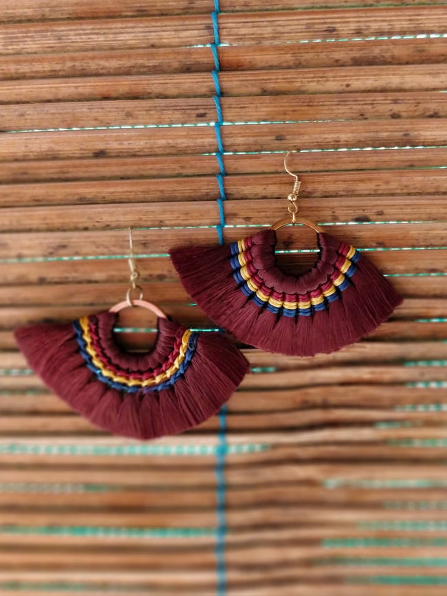 Mink Tassel Fringe Brown Earrings