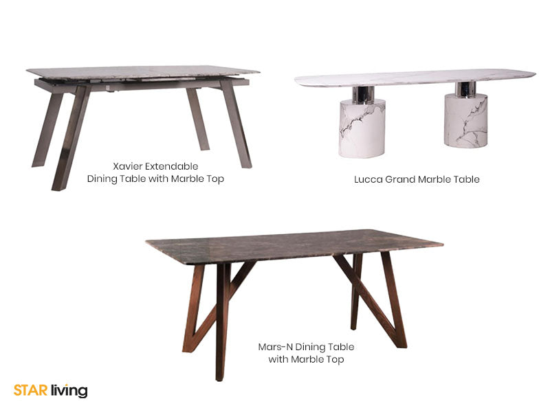 Lucca Grand Marble Table, Xavier Extended Dining Table & Mars-N Dining Table With Marble Top