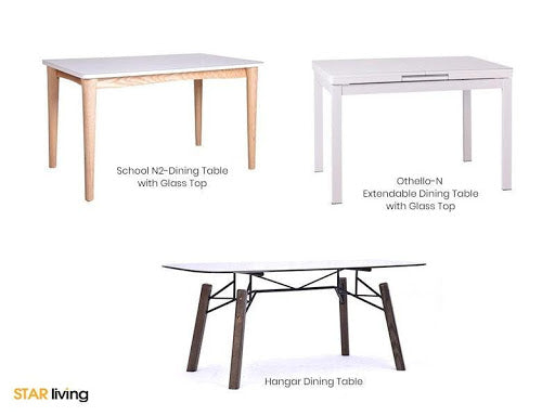 School N2, Othello-N Dining Tables With Glass Top & Hangar Dining Table