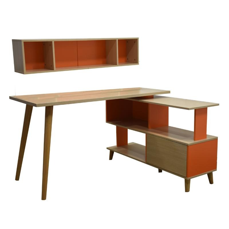 HANSEL L-SHAPED STUDY TABLE w/ 2 WALL SHELVES