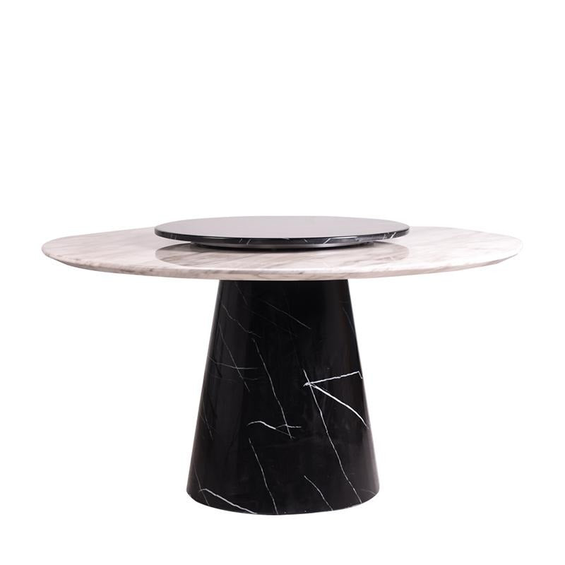 ORION-N ROUND MARBLE DINING TABLE w/ LAZY SUSAN - Star Living