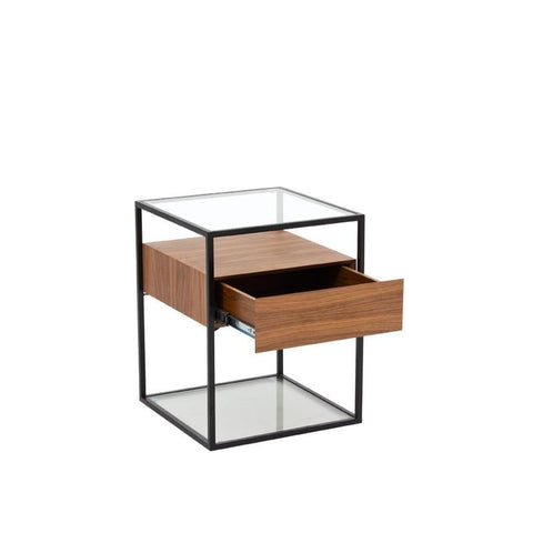 BOX-A END TABLE w/ GLASS TOP
