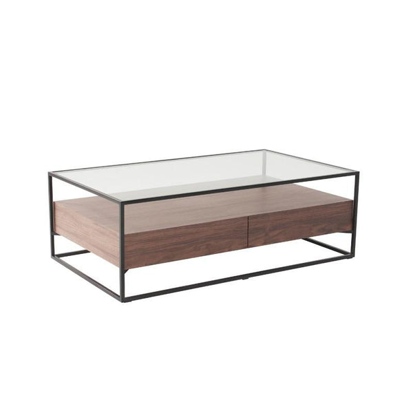 BOX-L COFFEE TABLE w/ GLASS TOP