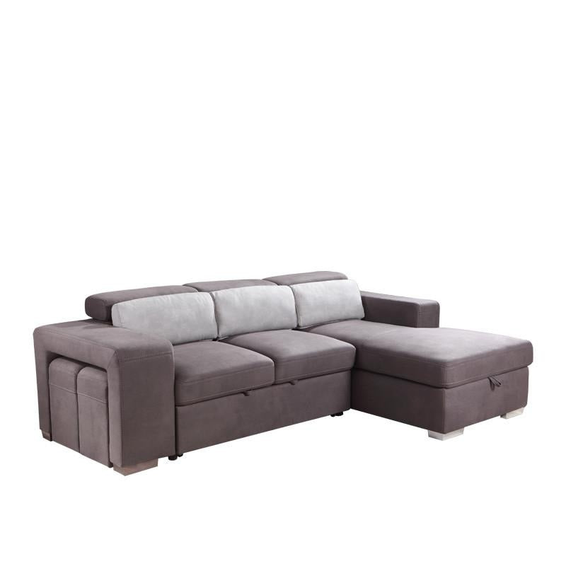 JOEY FUNCTIONAL L-SHAPED SOFA BED w/ 2 STOOLS (LHS) (UNDETACHABLE)