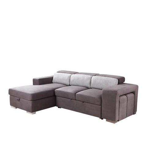 JOEY FUNCTIONAL L-SHAPED SOFA BED w/ 2 STOOLS (RHS) (UNDETACHABLE)