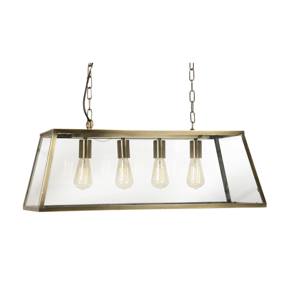 Oaks 1524/4 AB | Antique Brass Lantern Bar Pendant | Discount Home Lighting
