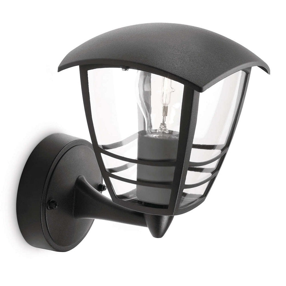 Philips 15380/30/16 Black Outdoor Up Lantern Wall Light (153803016)