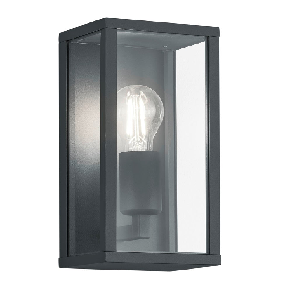 Anthracite & Glass Panel Vintage Rectangular Outdoor Wall Light