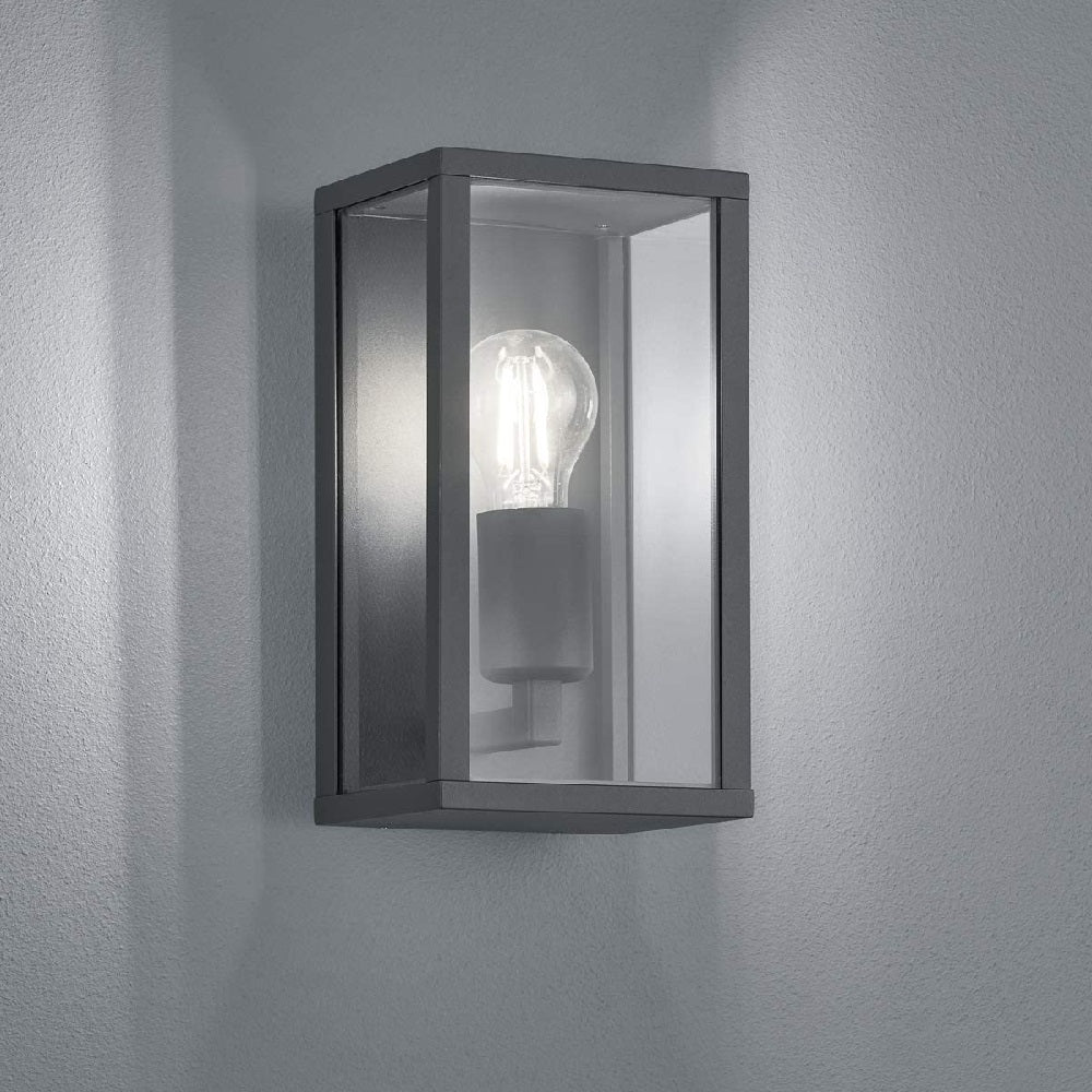 Anthracite & Clear Glass Panel Exterior Wall Light