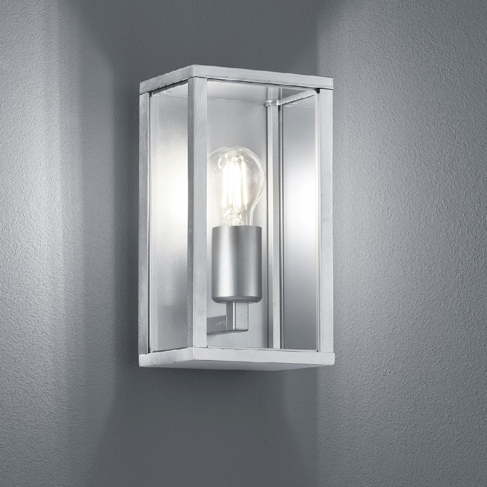 Stainless Steel & Clear Glass Panel Exterior Wall Light