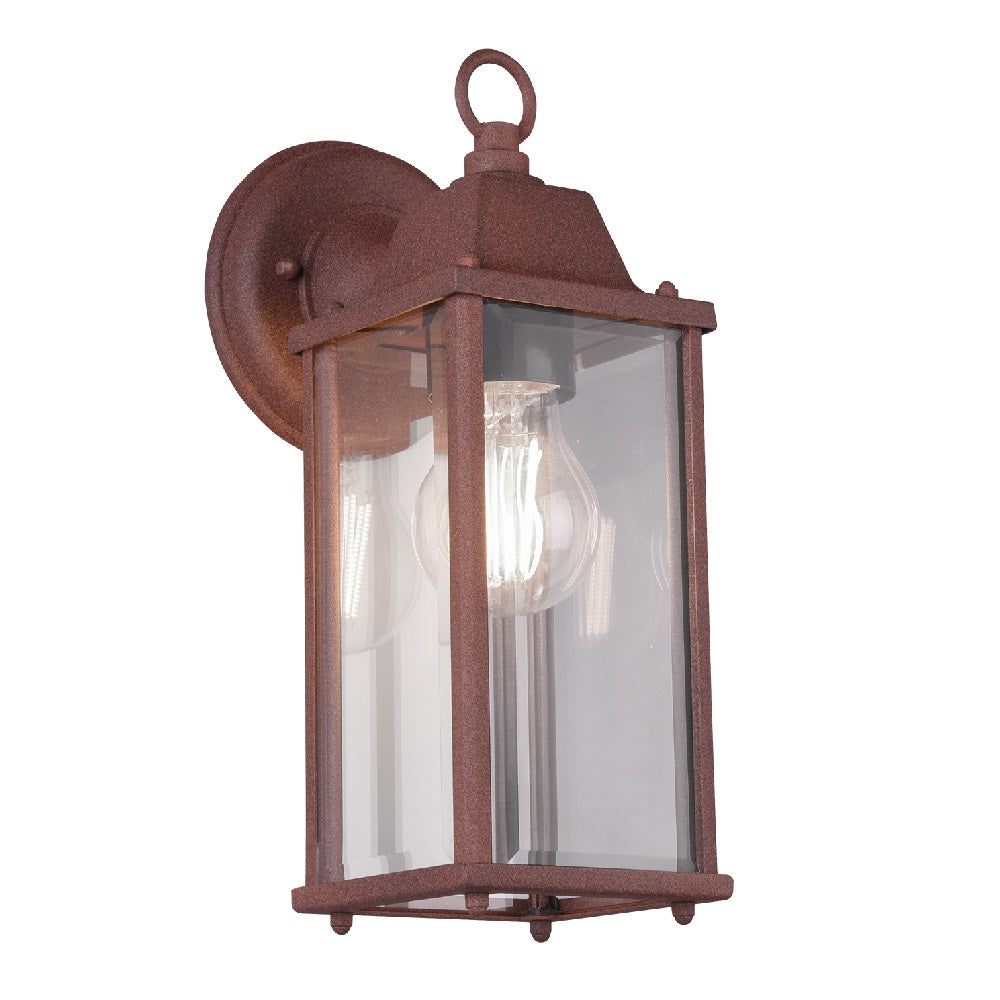 Antique Rust & Clear Glass Panel Outdoor Wall Light