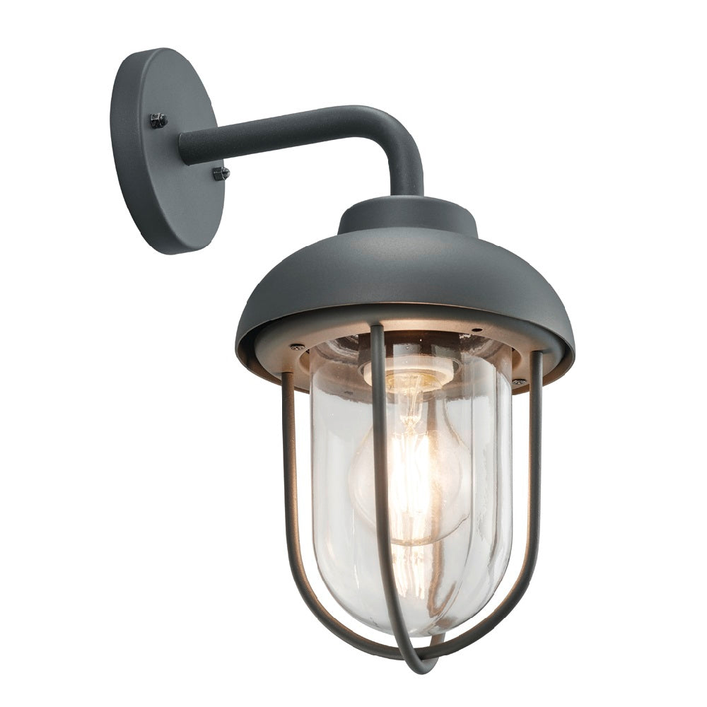 Anthracite Grey & Clear Dome Shade Outdoor Swan Neck Wall Light