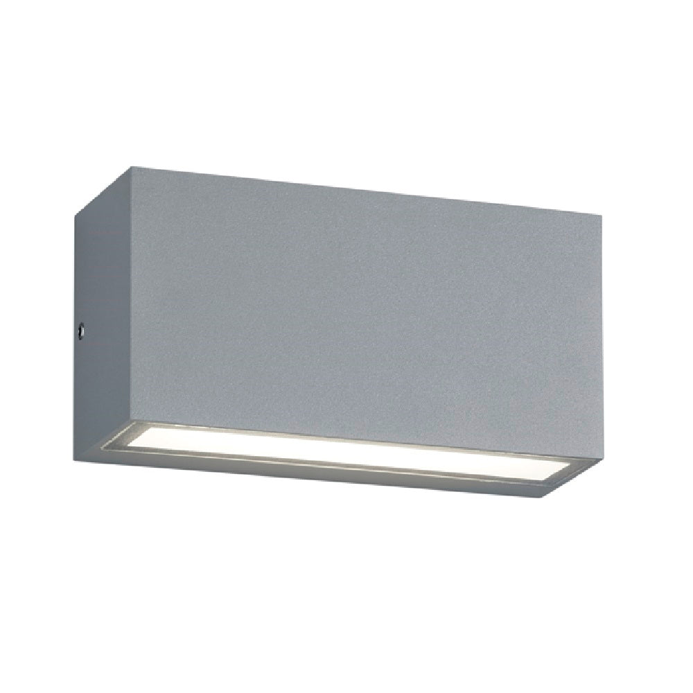 LED Matt Grey Modern Rectangular Outdoor Up Down Wall Light