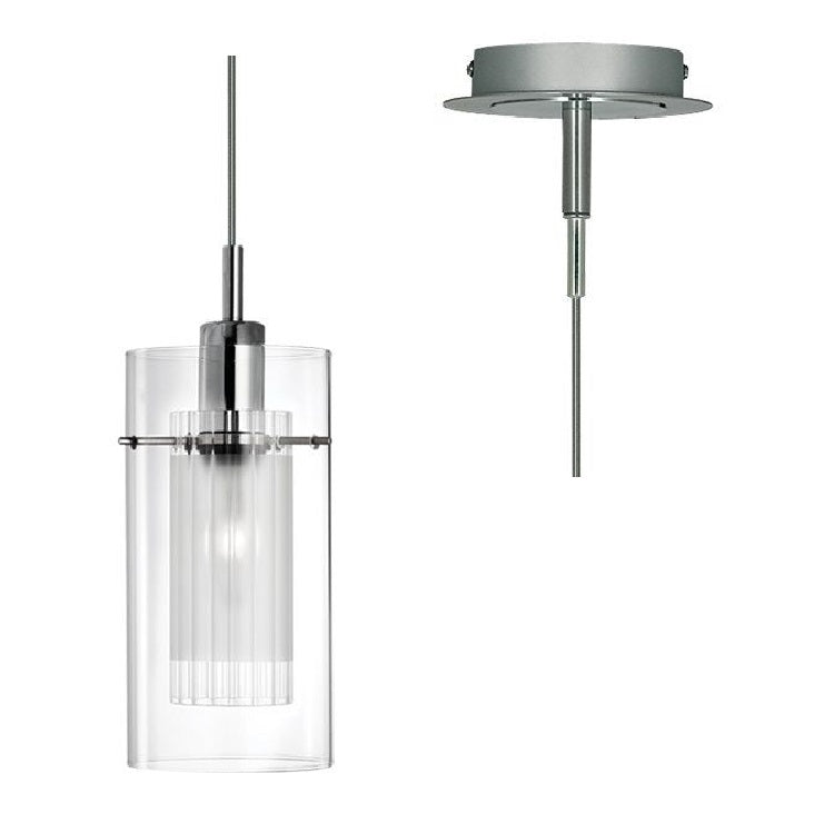 Searchlight Duo Chrome and Glass Pendant Modern