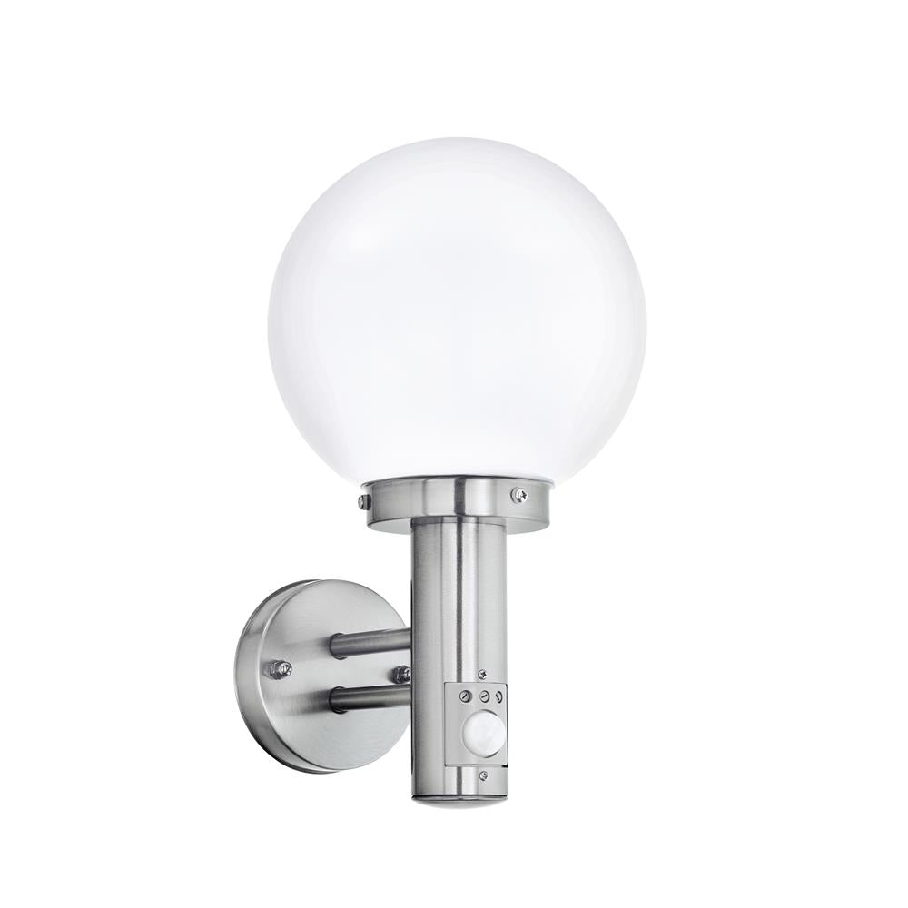 eglo 27126 nisia outdoor wall light stainless steel opal globe