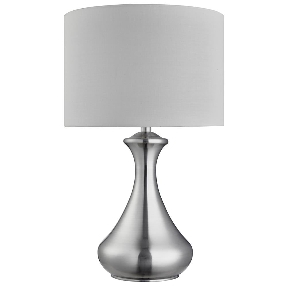 Searchlight 2750ss satin chrome touch table lamp with white shade searchlight 2750ss discount home lighting aloadofball Images