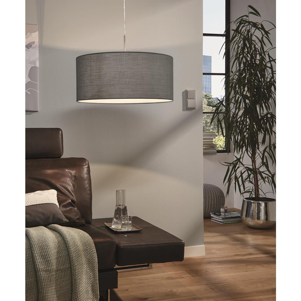 Eglo 31577 Pasteri Matt Grey Fabric Modern 1 Lamp Round Single Pendant 530mm