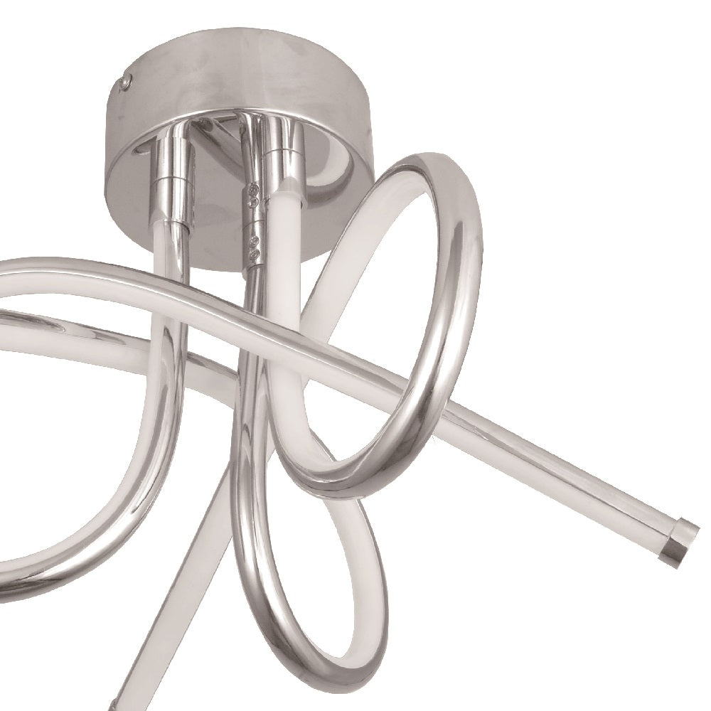 Polished Chrome 3 Twisted Arm Ceiling Light