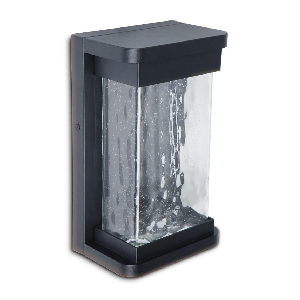 Lutec Black Outdoor Vintage Seeded Square Glass Wall Light