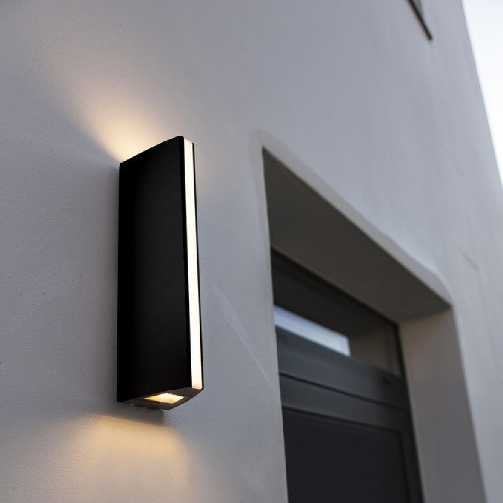 Lutec LED Anthracite Outdoor Triangular Up & Down Wall Light