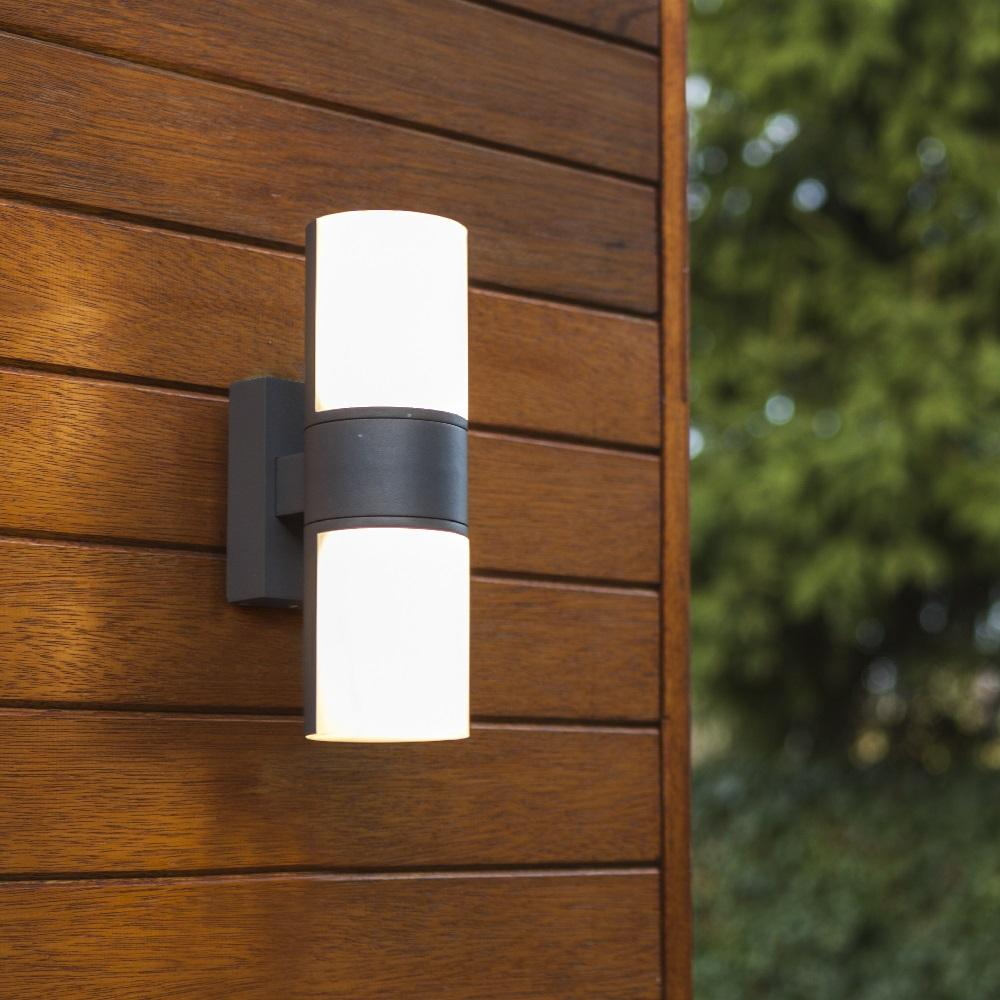 Lutec LED Anthracite Outdoor Modern Cylinder Rotational Up & Down Wall Light