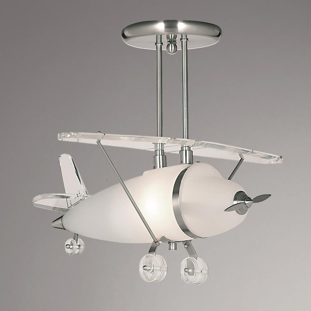 Searchlight 737 novelty satin chrome frosted glass airplane pendant ceiling light
