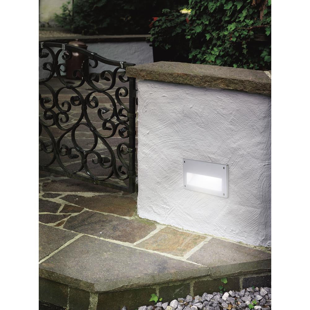 Eglo 88575 Zimba Aluminium & Silver Square Recessed Outdoor Wall Light