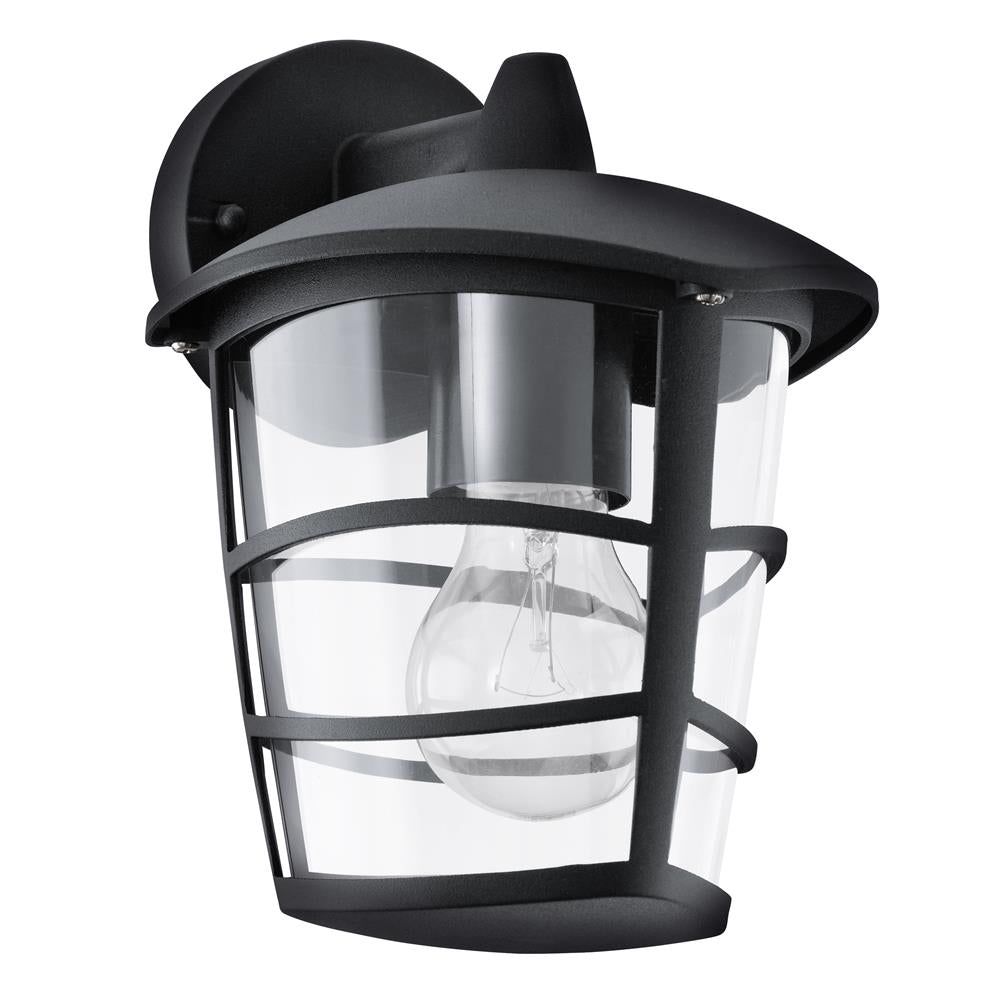 Eglo 93098 Aloria Outdoor Black 1 Lamp Down Lantern Wall Light