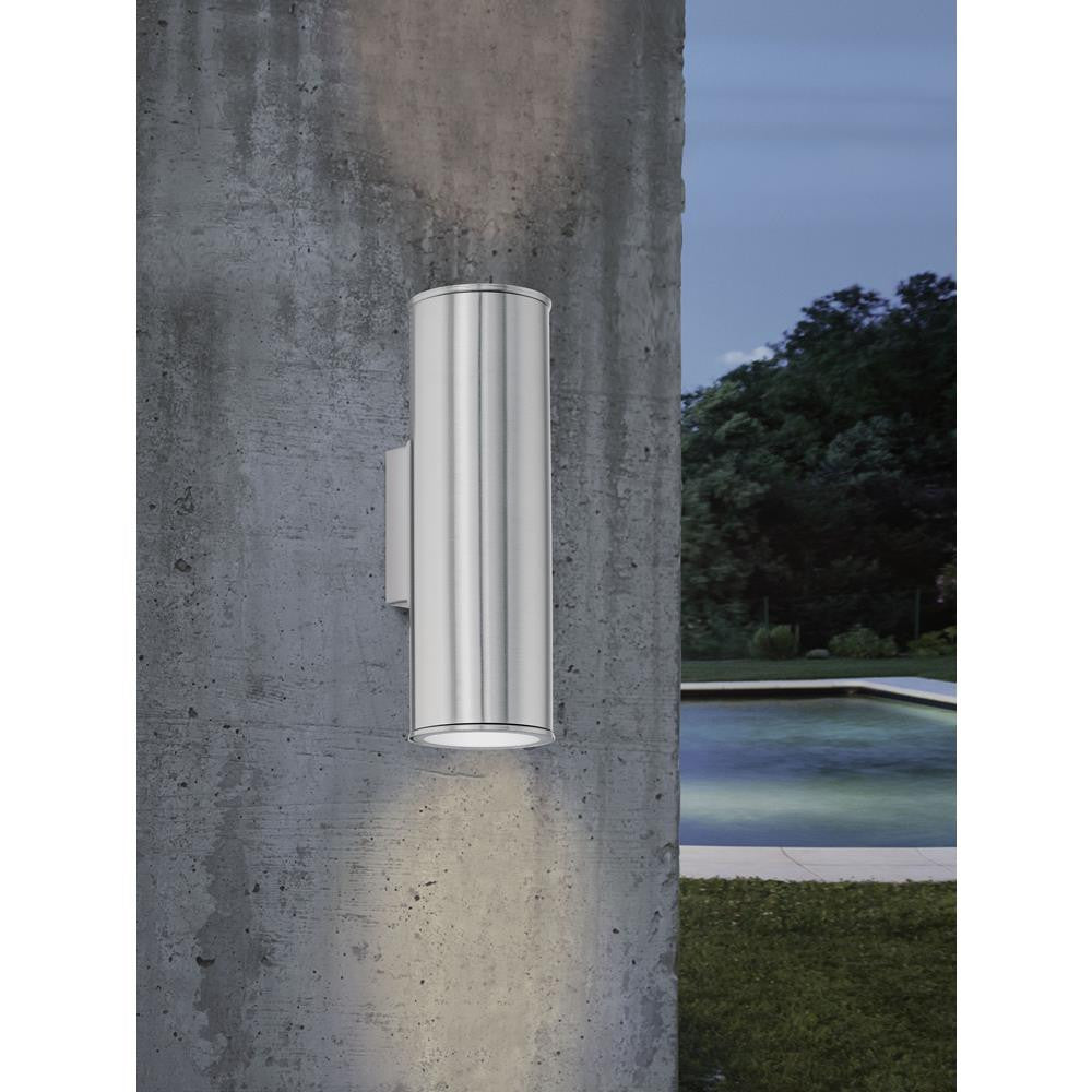 Eglo 94107 Riga LED Outdoor Stainless Steel 2 Lamp Up & Down Modern Wall Light