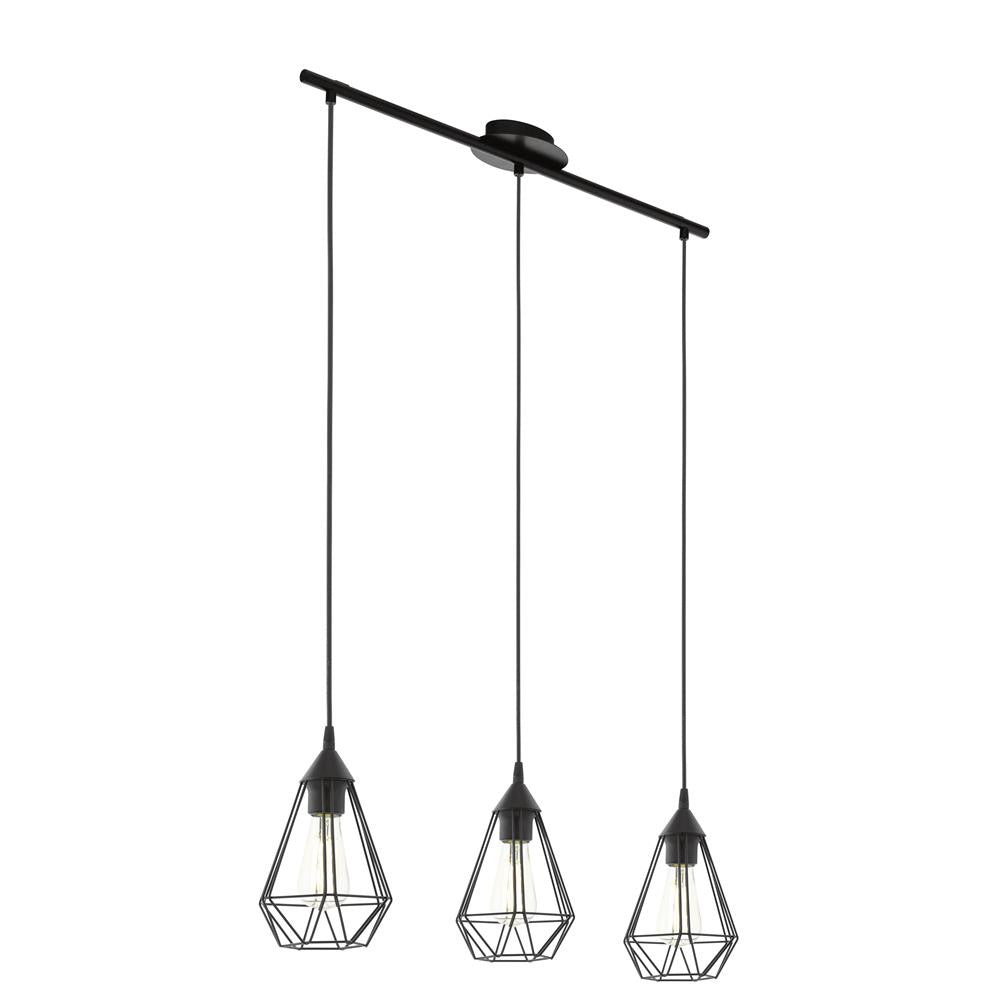 Eglo 94189 Tarbes Vintage Black Wire Cage 3 Lamp Bar