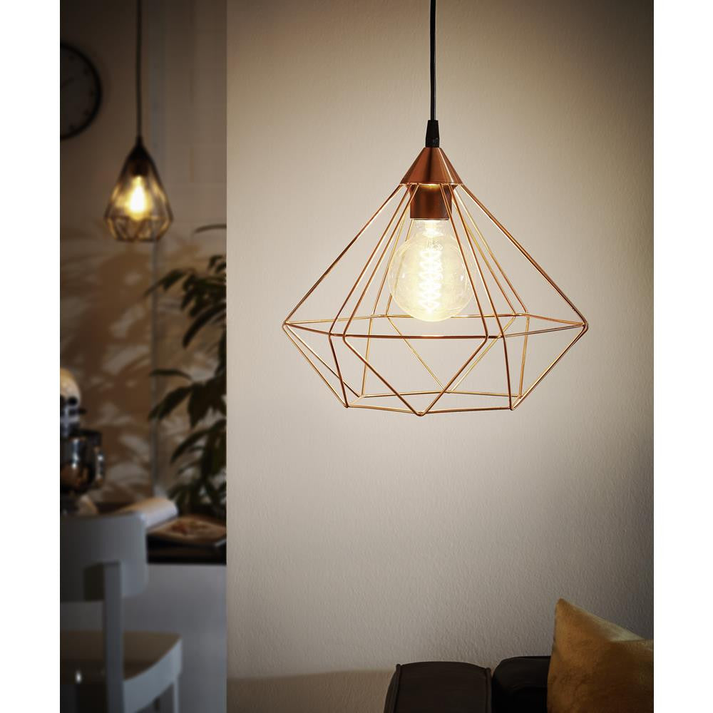 Eglo 94194 Tarbes Vintage Copper Wire Cage 1 Lamp Pendant Light 325mm