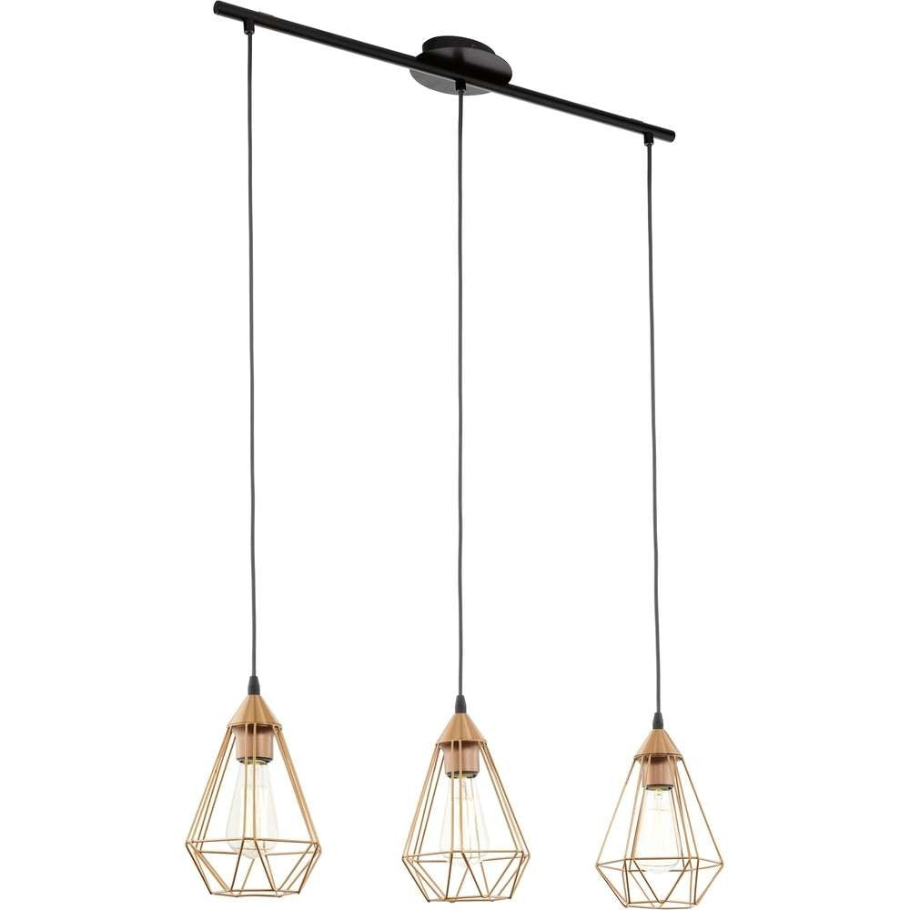 Eglo 94195 | Tarbes Vintage Copper Wire Cage 3 Lamp Bar Pendant ...