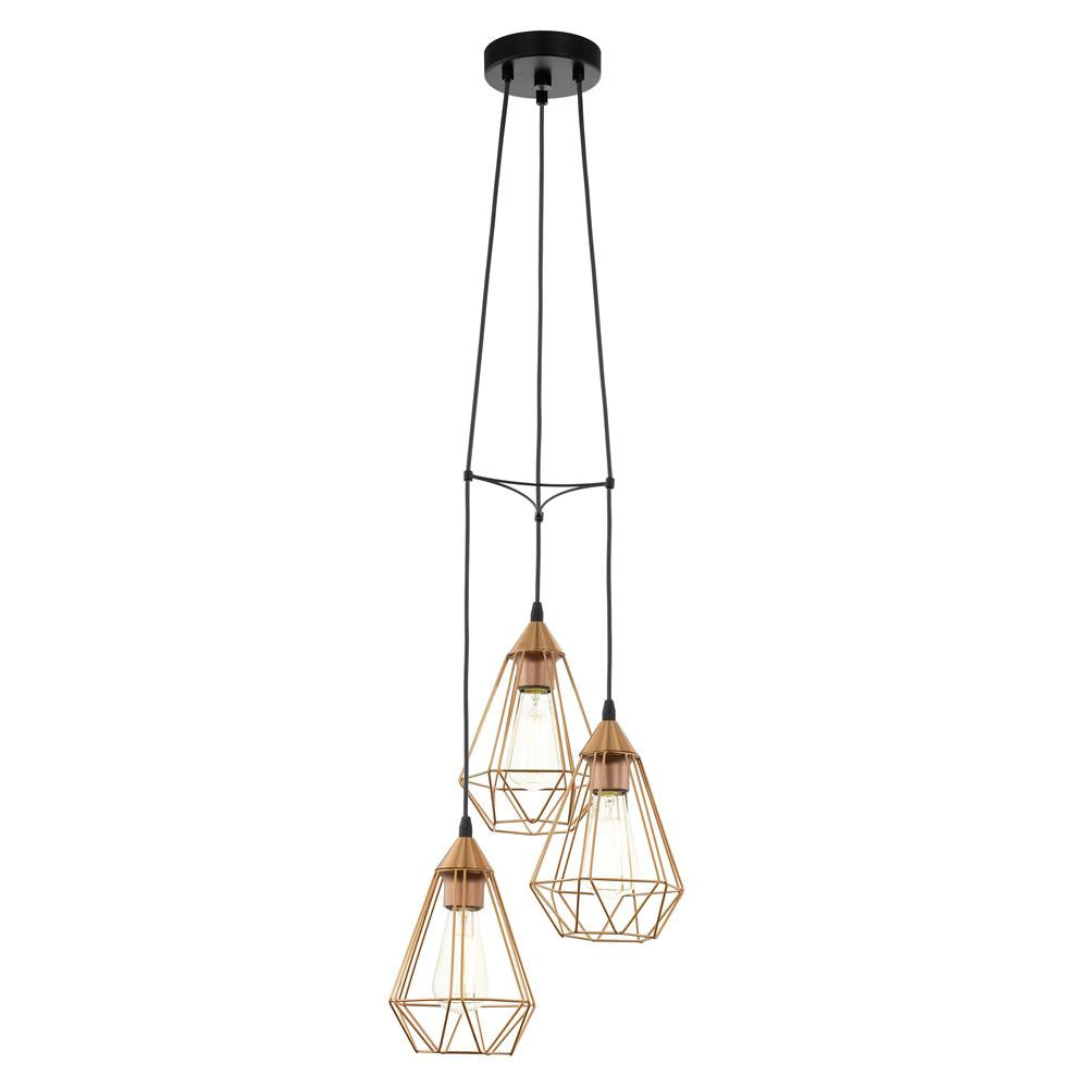 Eglo 94196 Tarbes Vintage Copper Wire Cage 3 Lamp Cluster Pendant Room Ceiling Light Retro On Wiring Led Lights Discount Home Lighting