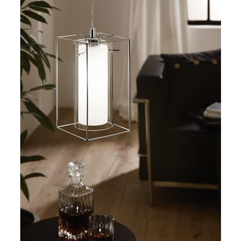 Eglo 94377 Loncino 1 Polished Chrome Wire with Clear & Frosted Glass Tube Shade 1 Lamp Pendant