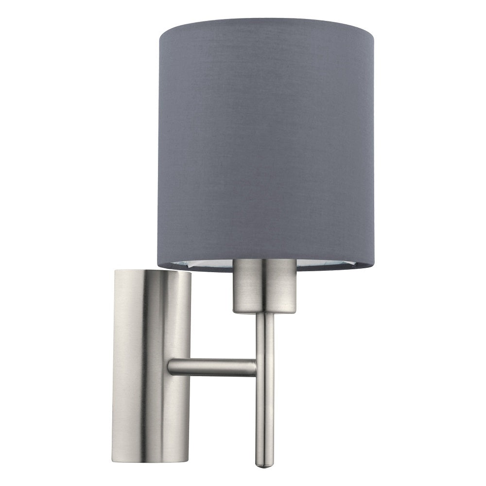 Eglo 94926 | Satin Nickel & Grey Wall Light | Discount Home Lighting