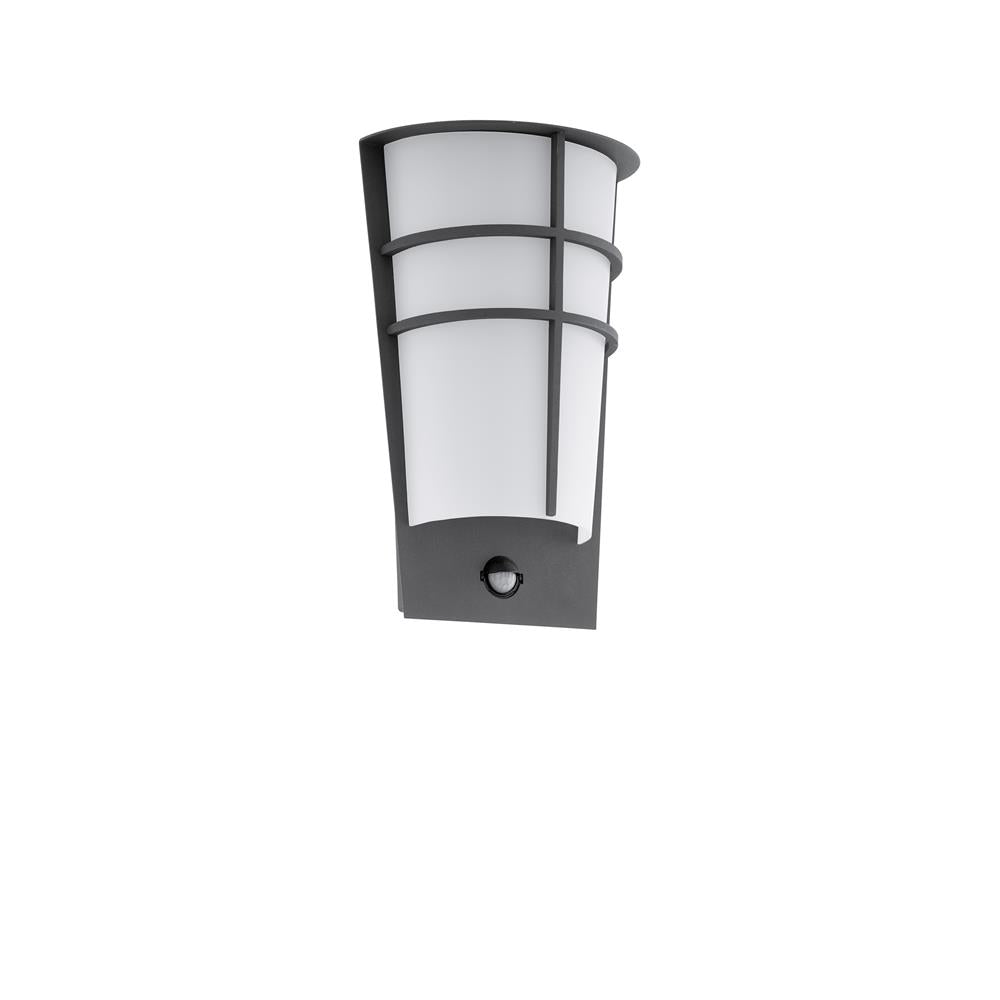 Eglo 96018 breganzo 1 led anthracite outdoor modern flush wall light with pir