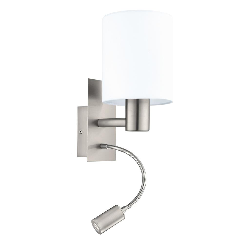 Eglo 96477 | Discount Home Lighting  sc 1 st  Discount Home Lighting & Eglo 96477 | Pasteri Satin Nickel Wall Lamp White Shade LED 3.5W ...