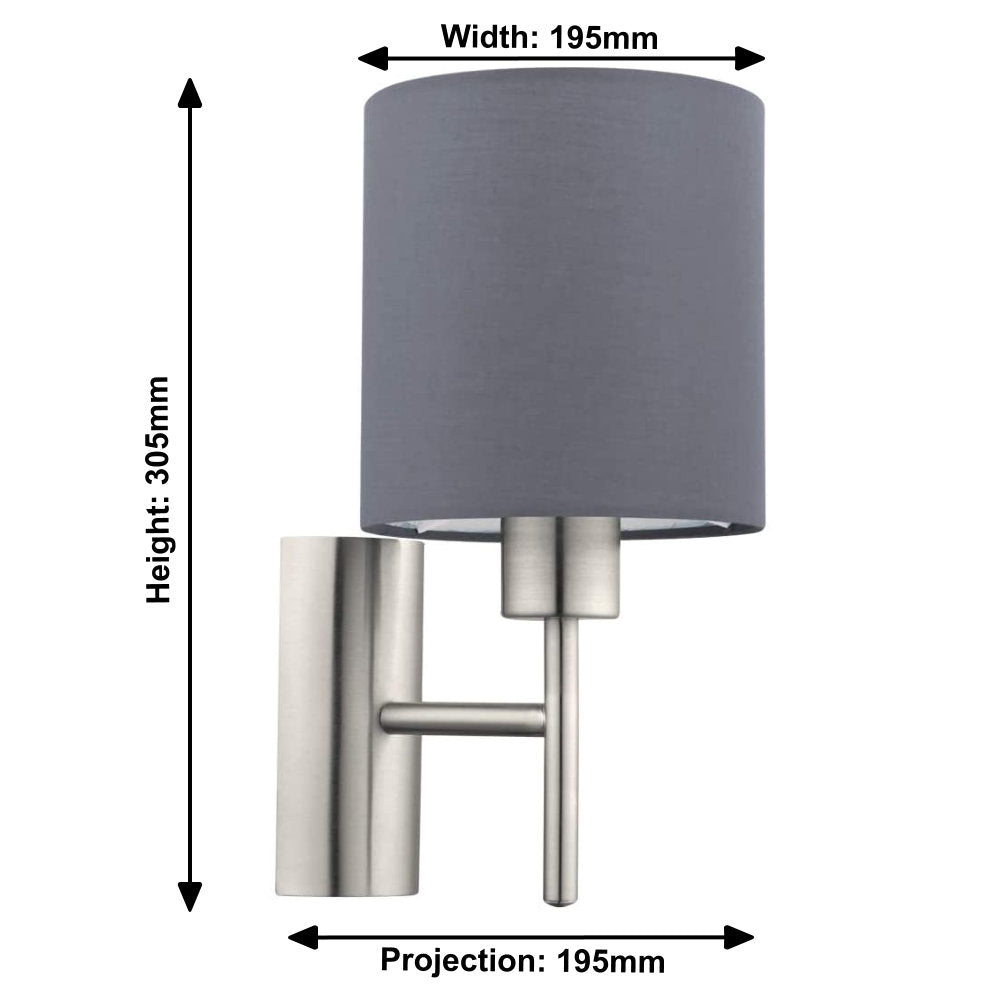 Brushed Chrome Vintage Indoor Wall Light with Fabric Grey Shade | Discreet On Off Rocker Switch Operated