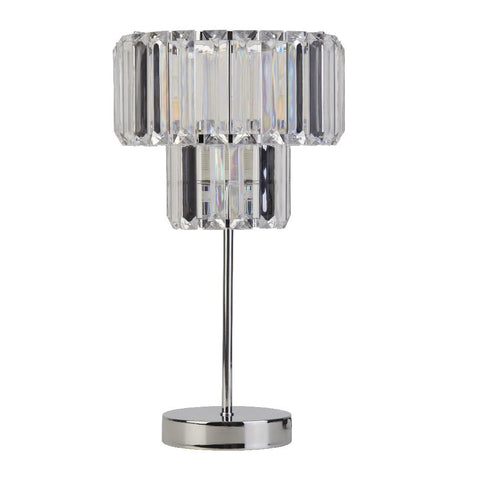 Britalia Lighting Chrome & Clear Acrylic Straight Jewel Crystal Table Lamp