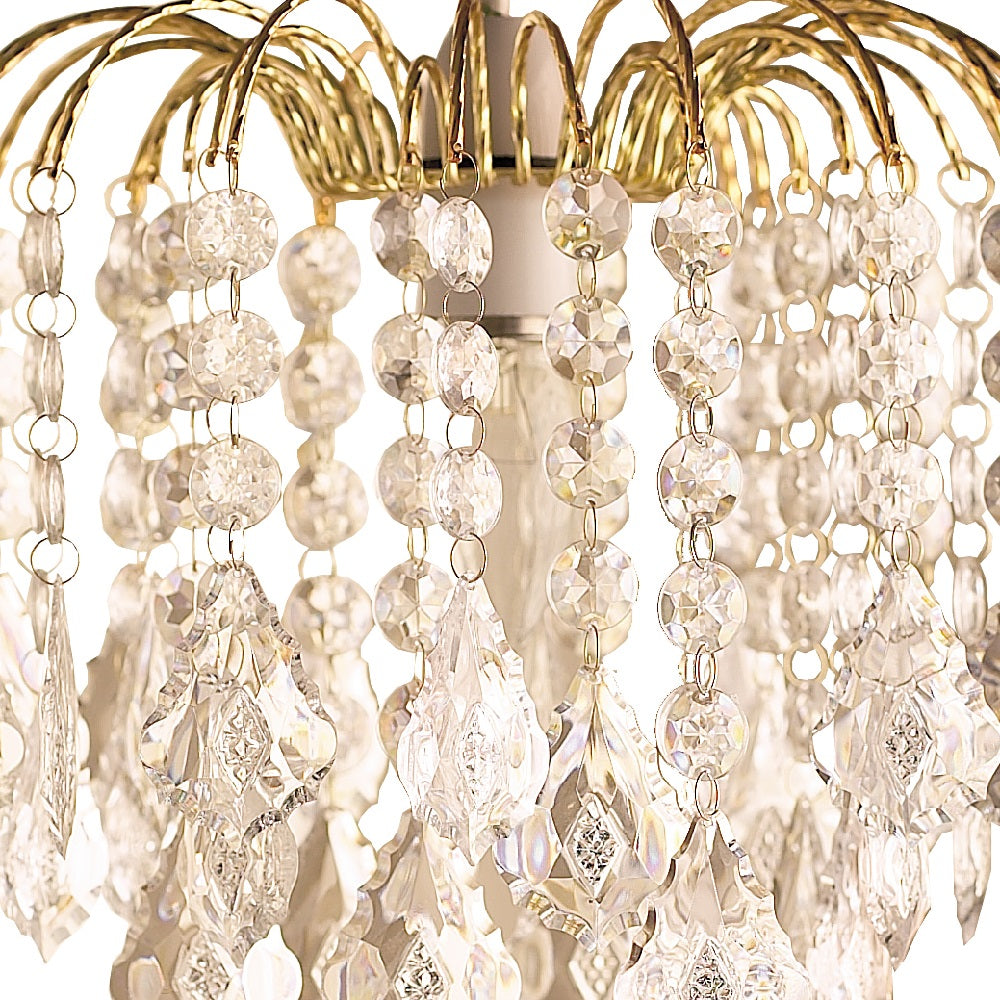 Gold & Glass Clear Bead 3 Tier Pendant Light