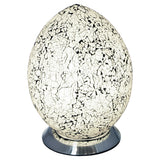 Febland LM74W White Mosaic Glass Vintage Egg Table Lamp 30cm