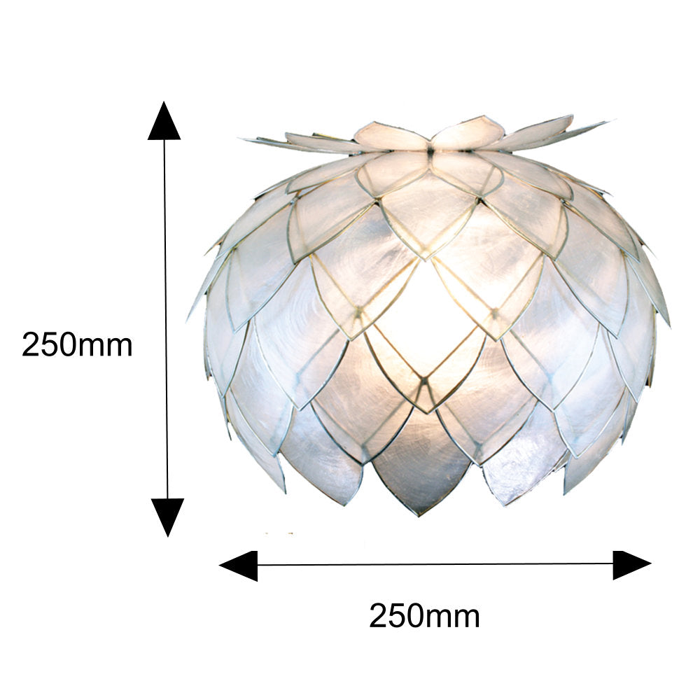 White Natural Filipino Capiz Shell Pendant Light
