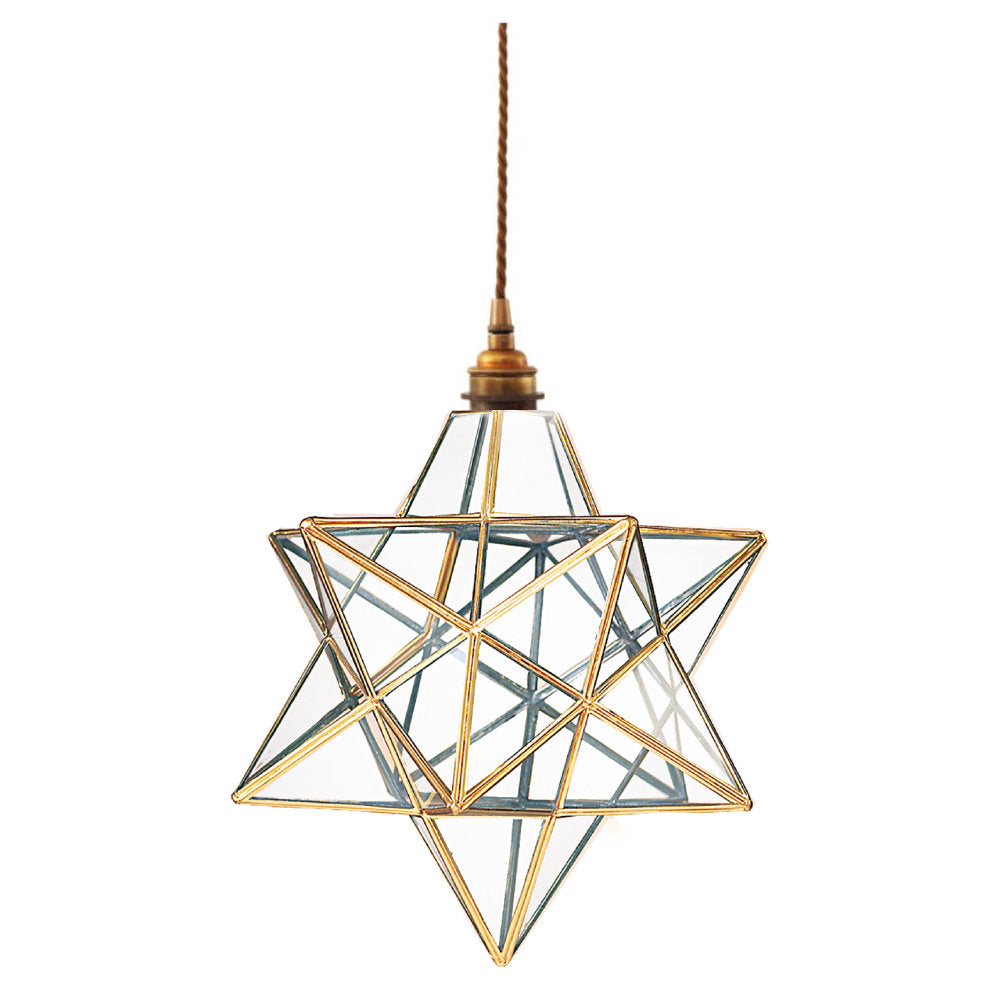 Antique Brass & Clear Glass Panel Star Pendant