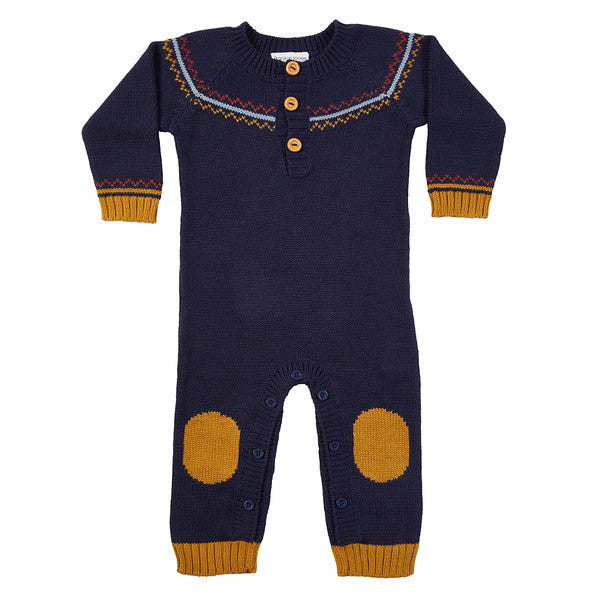 Fairisle Hand Knit Jumpsuit - Navy